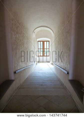 Long Indoor Stair Corridor On A Chateau