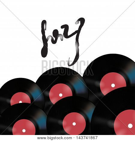 Vector music poster on white background with vinyl records