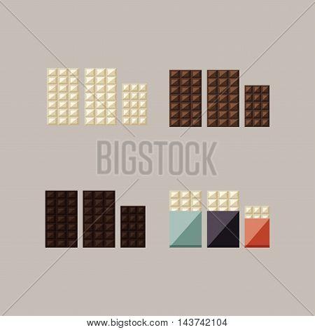 Vector illustration of chocolate bars: white, milk, dark