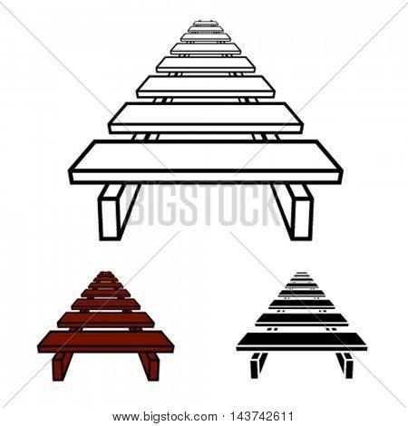 3D simple wooden footbridge black symbol vector