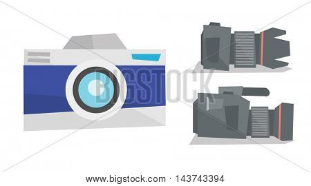 Digital photo camera and professional video camera vector flat design illustration isolated on white background.