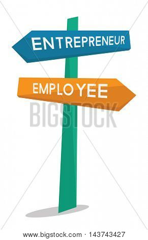 Employee and entrepreneur road sign vector flat design illustration isolated on white background.