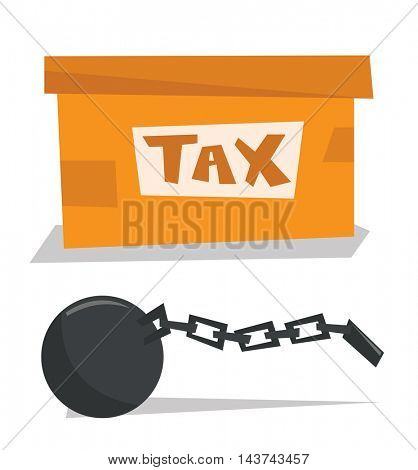Cardboard box for taxes and chain with ball vector flat design illustration isolated on white background.