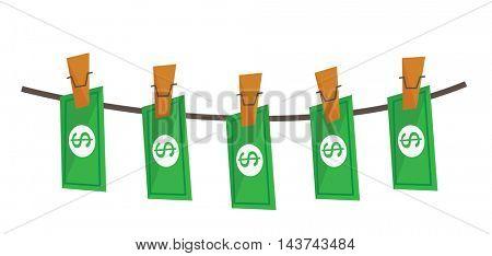 laundered dollars on rope vector flat design illustration isolated on white background.