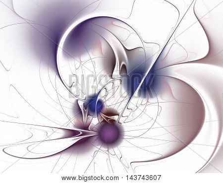 Abstract purple and blue spheres fractal on white background