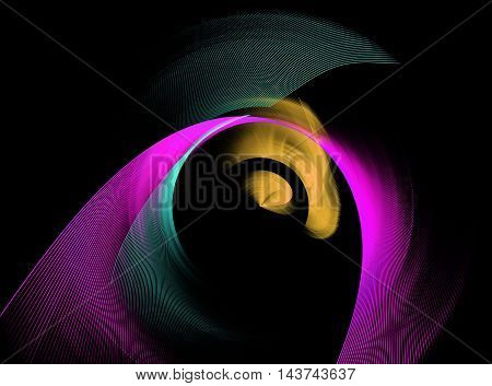 Abstract multicoloured green pink and yellow swirling fractal on black background