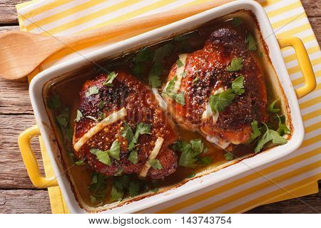Tasty Chicken Thigh Baked With Honey And Mustard Close Up. Horizontal Top View