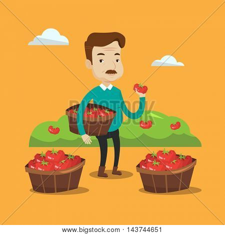 An adult farmer holding a box with tomatoes. Farmer standing near boxes with tomatoes and showing ripe red tomato on the background of field with bushes of tomatoes. Vector flat design illustration