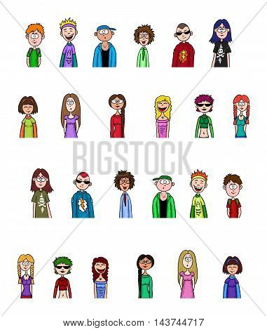teenagers - boys and girls set. Vector people collection.