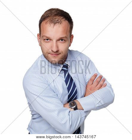 Young happy succesful businessman isolated on white. Portrait of a confident guy in trendy blue shirt and striped tie looking at camera and smiling