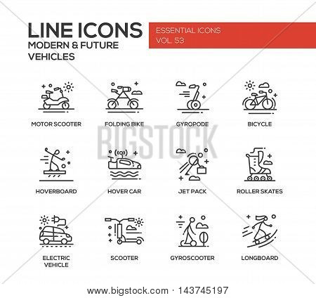 Modern and Future Vehicle - modern vector plain line design icons and pictograms set. Motor scooter, folding bike, gyropode, bicycle, hoverbord, hover car, jet pack, roller scates, scooter, gyroscooter, longboard