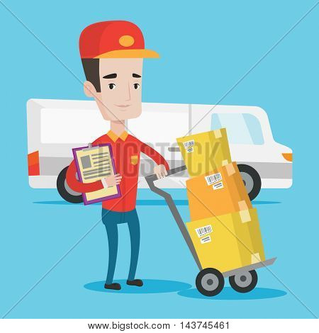 Delivery man with cardboard boxes on troley. Delivery man with clipboard. Delivery man standing in front of delivery van. Vector flat design illustration. Square layout.