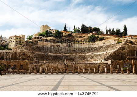 View at the roman amphitheatre in Amman Jordan