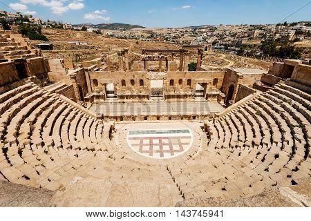 Amphitheater in the ancient Roman city Jerash Jordan.