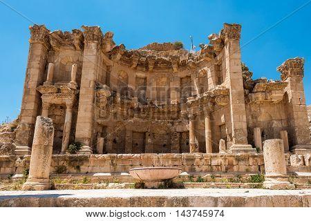 Nymphaeum in the Roman city of Gerasa Jerash Jordan