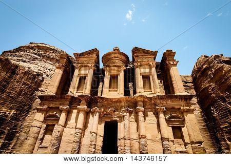 The Monastery Ad-Deir ancient Nabataean city Petra Jordan.