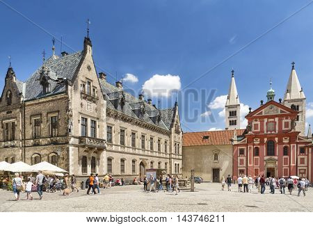 PRAGUE, CZECH REPUBLIC, JULY 7,2016: St. George's Basilica, the oldest surviving church building within Prague Castle complex, founded by Vratislaus I of Bohemia in 920.