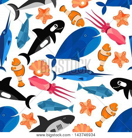 Fish cartoon seamless background. Children funny wallpaper with vector pattern of cute swimming fishes, clownfish, shark, whale, starfish, swordfish, cuttlefish, shell, tuna, squid