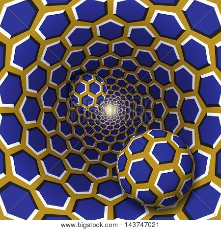 Optical illusion illustration. Two balls with a hexagons pattern are moving on rotating blue hexagons golden funnel. Abstract fantasy in a surreal style.