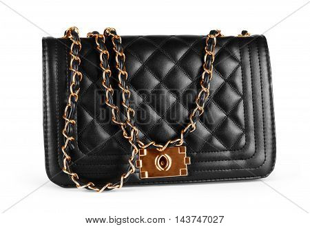 Elegant black female bag over white background