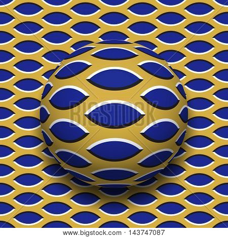 Ball with a pointed ellipses pattern rolling along the pointed ellipses surface. Abstract vector optical illusion illustration. Motley background and tile of seamless wallpaper.