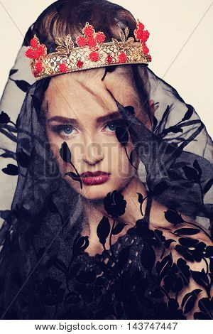 Portrait of Fashion Model. Woman with Makeup and Feminity Accessories