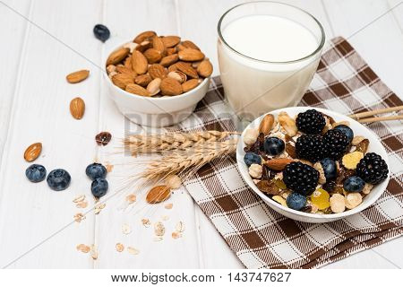 Breakfast with ripe berries milk and muesli. Selective focus