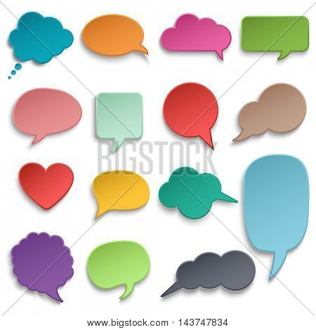 Vector abstract illustration of color paper rounded speech bubbles on orange background