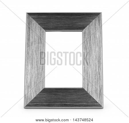 Old distressed antique grunge grey wood picture frame isolated on white