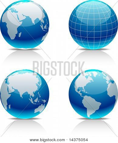 Glossy globe icons. Vector illustration.
