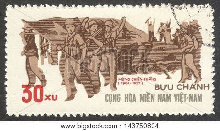 MOSCOW RUSSIA - CIRCA JULY 2016: a stamp printed in VIETCONG shows Guerilla Force the series
