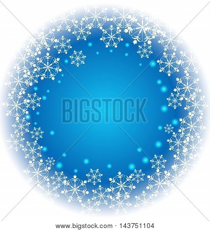 Abstract white Snowflakes vector on blue background