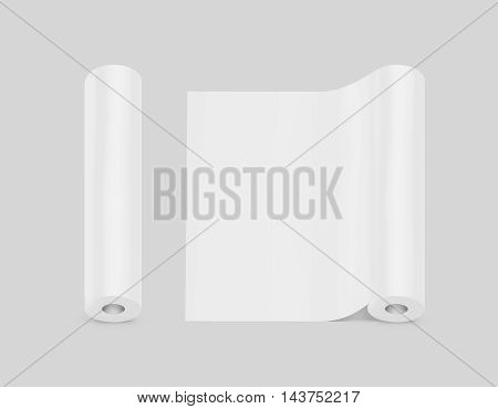 Blank white wallpaper rolls design mock up isolated clipping path 3d illustration. Wallpapering paper surface mockup. Home decoration film scroll template. Clear folia ready for texture or pattern.
