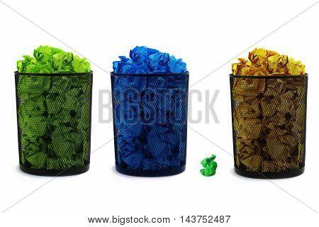 bin full of waste paper on white background