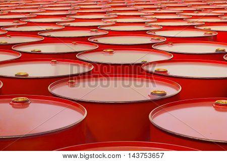 The a metal barrels of red color