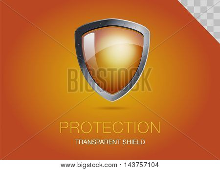 Realistic metal shield with transparent armored glass. Vector illustration of a protection or security. Orange background