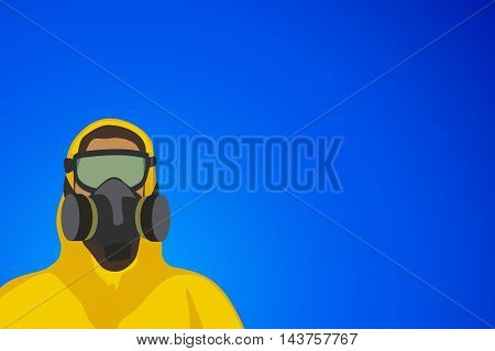 illustration of woman in yellow biohazard protective siut on blue background