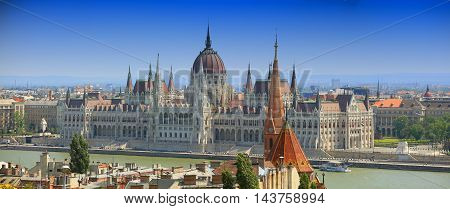 The Panoramic Hungarian Parliament Building in Budapest