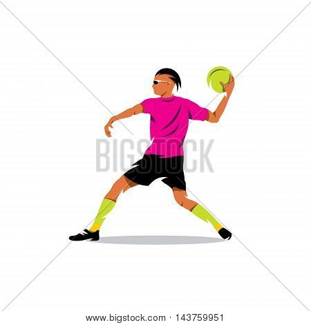 Man preparing to throw the ball into the goal.