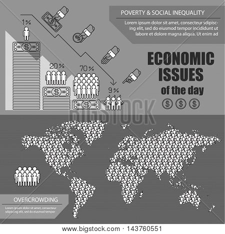 infographics about most important global economic issues of the day for thematic publications.