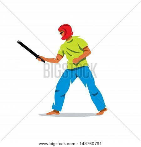 The man in a protective helmet holds the sword of combat training. Isolated on white background
