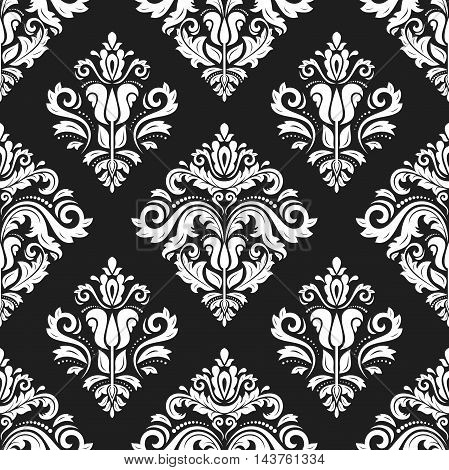 Seamless damask vector black and white pattern. Traditional classic orient ornament