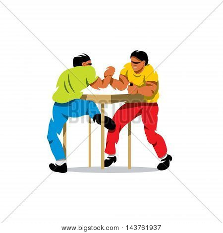 Two people compete for a table. Isolated on a White Background