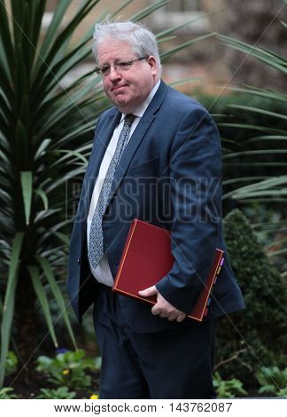 LONDON, UK, FEB 02, 2016: Patrick McLoughlin MP seen arriving for a cabinet meeting in Downing Street