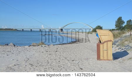 View to Fehmarnsund Bridge on Fehmarn at baltic Sea,Schleswig-Holstein,Germany