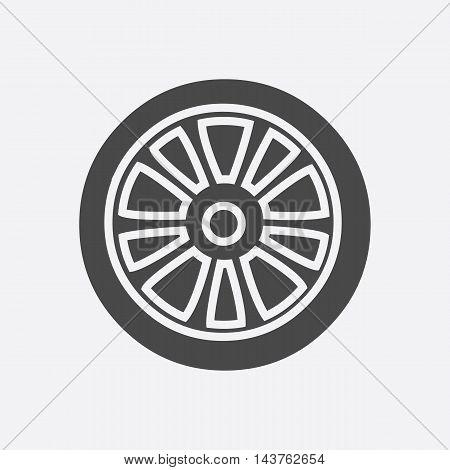 Car wheel icon black. Single car repair parts symbol.