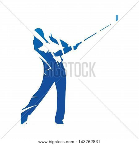 Golf player golf swing abstract blue vector silhouette