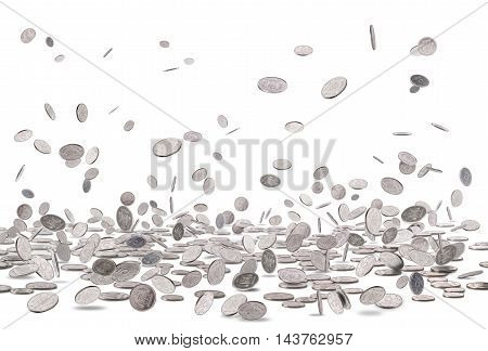 Falling silver coins isolated on a white background