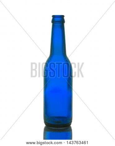 The empty bottle blue Isolated white background