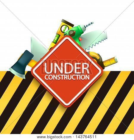 illustration of red under construction sign with some tools behind with yellow blkack stripped background